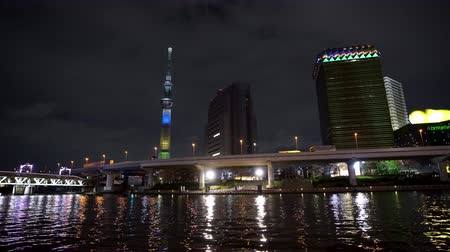 kanto district : Tokyo skyline on the Sumida River at twilight