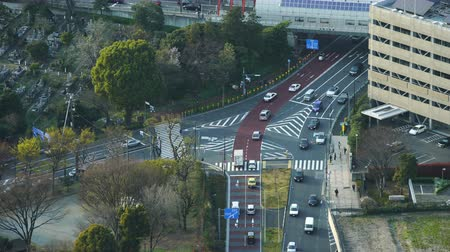 ginza : Aerial view of road junction with traffic in Tokyo, Japan