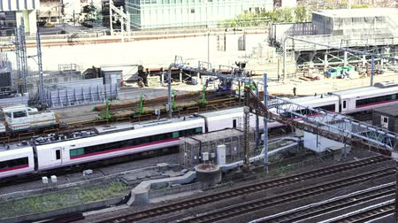 shinkansen : TOKYO, JAPAN - March 24, 2019: The express train approaching to the Tokyo railway station, Japan