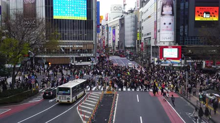 tokyo station : TOKYO, JAPAN - March 25, 2019: Time Lapse of people and cars across at Shibuya famous crossing street in Tokyo, Japan