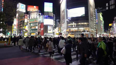 cartelloni : TOKYO, JAPAN - March 25, 2019: crowds of people walking across at Shibuya famous crossing street in Tokyo at night, Japan Filmati Stock