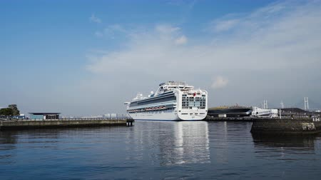 yokohama : YOKOHAMA, JAPAN - March 26, 2019: Cruise ship Diamond Princess floating at the Osanbashi Pier in port of Yokohama bay, Japan