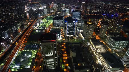 yokohama : Aerial night view of Yokohama Cityscape, view from Yokohama Landmark Tower, Japan