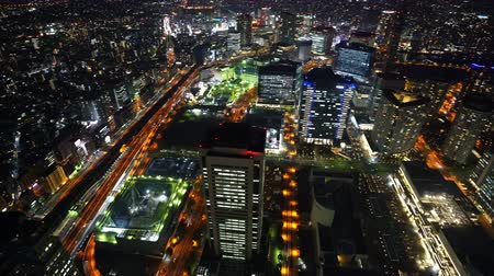 yokohama : panning shot of Yokohama Cityscape at night, view from Yokohama Landmark Tower, Japan Stock Footage