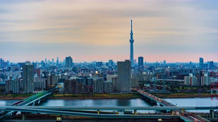 observation deck : Day to night time lapse of Tokyo cityscape, Japan Stock Footage