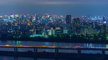 зум : time lapse of Tokyo cityscape at night, Japan Стоковые видеозаписи