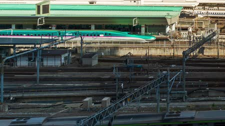 shinkansen : TOKYO, JAPAN - March 24, 2019: time lapse of the train approaching to the Tokyo railway station, Japan