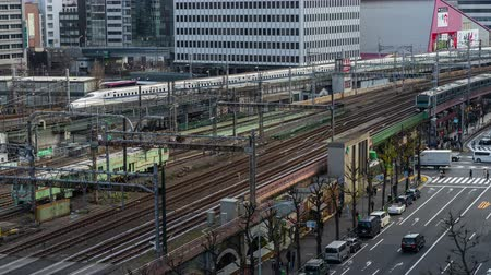 shinkansen : time lapse of the train approaching to the Tokyo railway station, Japan Stock Footage