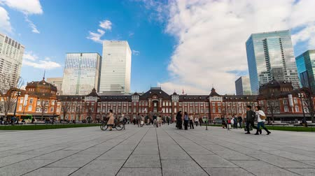 tokyo station : TOKYO, JAPAN - March 24, 2019: time lapse of Tokyo Station in the Marunouchi business district, It is the biggest and busiest terminal station in Japan.