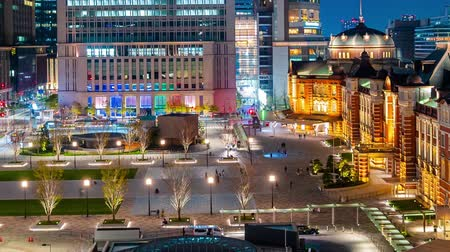 historisch : time lapse of Tokyo station at night, a railway station in the Marunouchi business district in Tokyo, Japan
