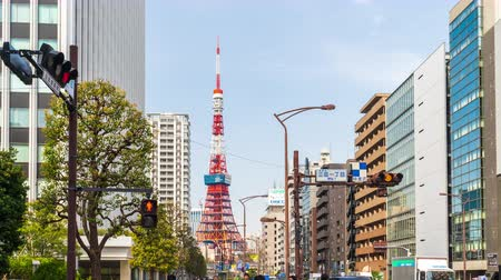 japonská kultura : TOKYO, JAPAN - March 25, 2019: Time lapse of urban life and traffic on street in Tokyo city, Japan
