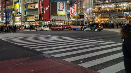 verkeersbord : TOKYO , JAPAN - March 25, 2019: time Lapse of people and cars across at Shibuya famous crossing street at night in Tokyo, Japan
