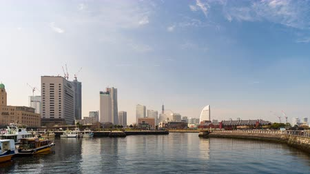 yokohama : YOKOHAMA, JAPAN - March 26, 2019: time lapse of port in Yokohama bay, Japan