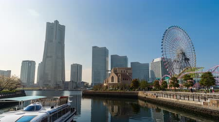 yokohama : YOKOHAMA, JAPAN - March 26, 2019: time lapse of Minatomirai, view from the bay in Yokohama city, Japan