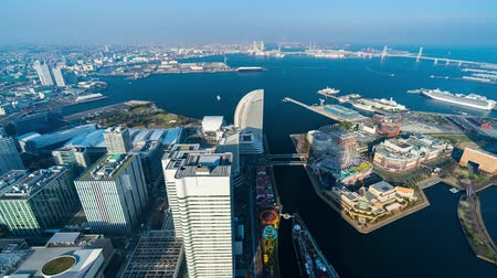 yokohama : time lapse of Yokohama Cityscape at Minato Mirai waterfront district, Japan