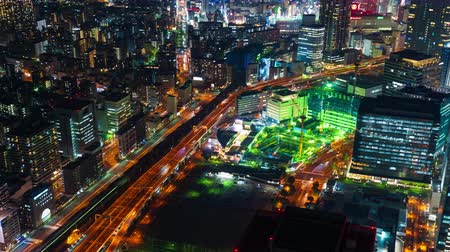 yokohama : YOKOHAMA, JAPAN - March 26, 2019: time lapse of traffic and city night view at Yokohama, Japan