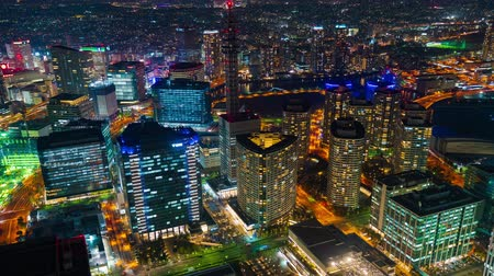 yokohama : time lapse of Yokohama Cityscape at night, Japan