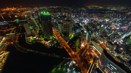 yokohama : YOKOHAMA, JAPAN - March 26, 2019: time lapse of Yokohama Cityscape at night, Japan