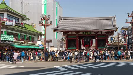 senso ji : TOKYO, JAPAN - March 27, 2019: time lapse of unidentified people visit Kaminarimon gate of Sensoji temple in Asakusa, Tokyo, Japan