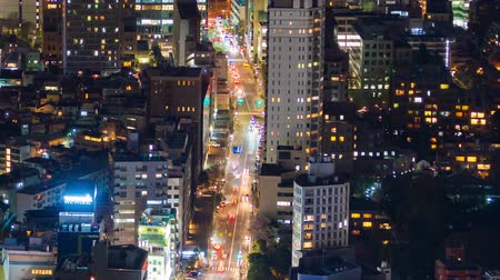 junção : time lapse of city and road in Tokyo at night, Japan