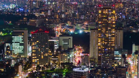 ginza : time lapse of city and road in Tokyo at night, Japan