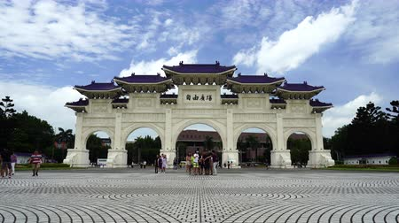 main : Taipei, Taiwan- 8 June, 2019: Liberty Square main gate of Chiang Kai-Shek Memorial Hall in Taipei, Taiwan. the famous landmark with popular travel of tourists visiting Taiwan.
