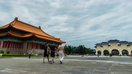 oryantal : time lapse of National Theater Hall and Liberty Square main gate of Chiang Kai-Shek Memorial Hall in Taipei, Taiwan