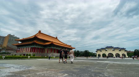 main : time lapse of National Theater Hall and Liberty Square main gate of Chiang Kai-Shek Memorial Hall in Taipei, Taiwan