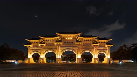 taiwan : time lapse of Liberty Square main gate of Chiang Kai-Shek Memorial Hall at night in Taipei, Taiwan