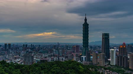 митрополит : day to night time lapse of city view in Taipei, Taiwan Стоковые видеозаписи