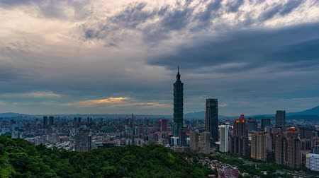 metropolitan : day to night time lapse of city view in Taipei, Taiwan Stock Footage