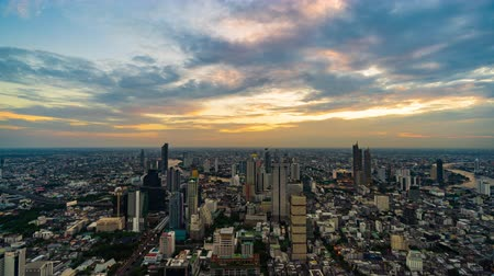 chao : day to night time lapse of Bangkok city with Chao Phraya River, Thailand Stock Footage