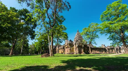 arenito : time lapse of unidentified people visit Prasat Khao Phanom Rung Historical park in Buriram, Thailand