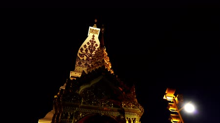 northeast : Wat Phra That Phanom Temple at night in Nakhon Phanom Province,Thailand