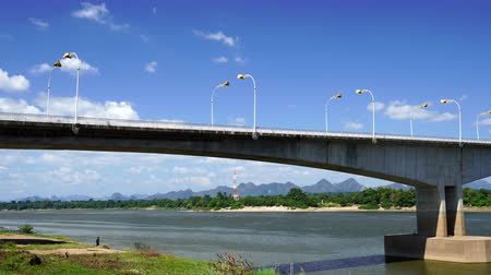 ラオス : panning shot of the Third Thai–Lao Friendship Bridge in Nakhon Phanom, Thailand 動画素材