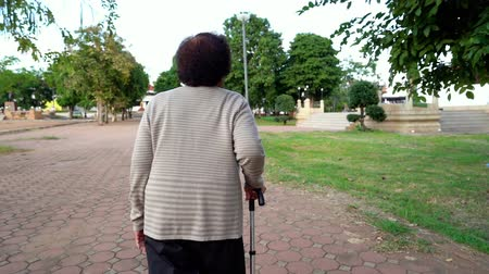 bengala : slow-motion of senior woman walking with walking stick in the park