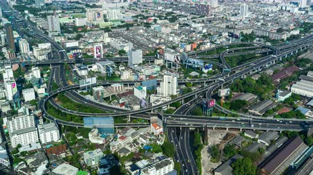 otoyol : BANGKOK, THAILAND - 5 Dec 2019 : time lapse of expressway junction road, view from Baiyoke Tower II in Bangkok, Thailand Stok Video