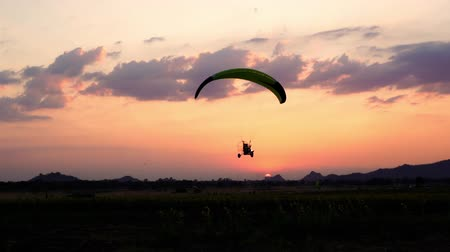 hang gliding : slow-motion of Paraglider flying against a sky over sunflower field at sunset