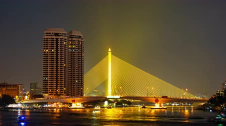 phra : time lapse of Somdet Phra Pinklao Bridge over the Chao Phraya River at night in Bangkok, Thailand