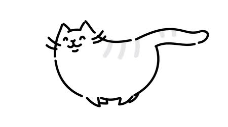 film şeridi : Fat cute cat runs. Picture taken on a white background. Cycled running puffy cat. Funny cat. Manual contour animation. Cute magic cat. Fulfills desires. May be mirrored.