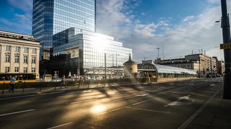 warszawa : time lapse of road with metro and buildings in Warsaw