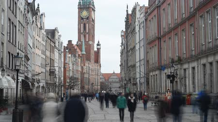 lengyelország : Gdansk, Poland - March 14, 2014: Timelapse of Dluga Street in Gdansk, Poland
