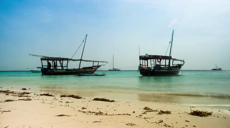 african touristic wooden boats near a sandy shore in Zanzibar, timelapse Stock Footage