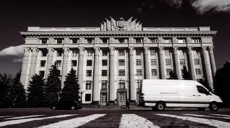 Kharkiv Region State Administration building on the Fredom Square, Ukraine, time lapse Stock Footage