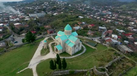 beautiful aerial view of Bagrati Cathedral in Kutaisi center, Georgia