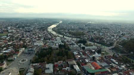 aerial view of the central part of Kutaisi with Rioni river, Georgia Stock Footage