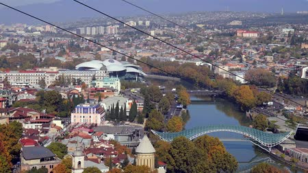 beautiful cityscape of Tbilisi with cableway from Narikala fortress, Georgia Stock Footage