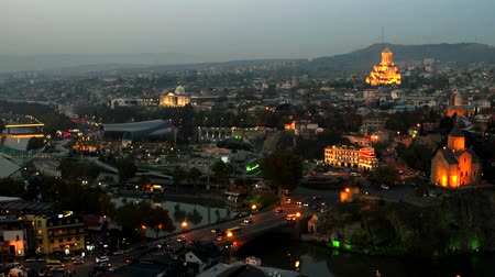 beautiful view of Tbilisi in the evening