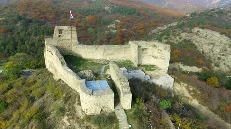 ruins of an old fortress on Kutaisi hill near Mtskheta, Georgia, aerial view Stock Footage