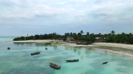 Fishermens boats near the touristic beach in Zanzibar, Tanzania, clear blue waters, aerial Стоковые видеозаписи